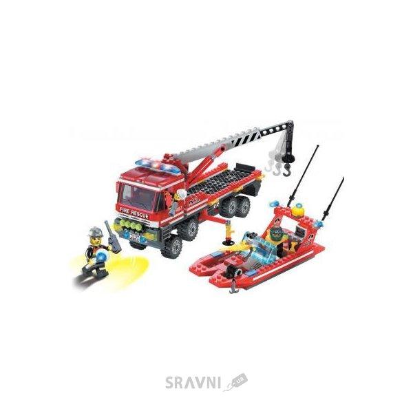 Фото Enlighten Brick Пожарные 907 Спасатель: Катер и перевозчик