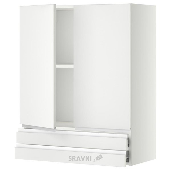 Фото IKEA METOD/FORVARA Навесной шкаф, 2 дверки/2 ящика, белый 80x100 (099.181.57)