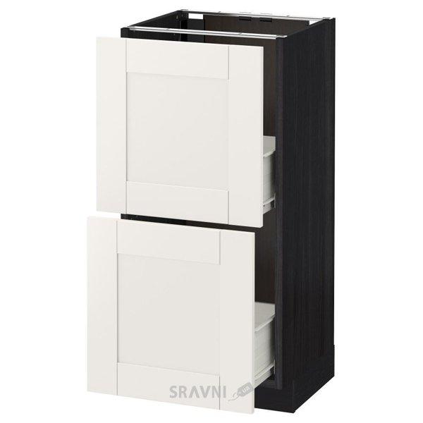 Фото IKEA METOD/FORVARA Напольный шкаф с 2 ящиками, черный 40x37 (690.644.43)