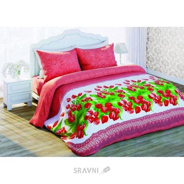 Фото Сладкий сон Красные тюльпаны двуспальный Евро 310977