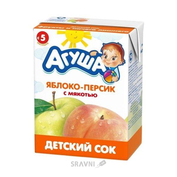 Фото Агуша Сок Яблоко-персик с мякотью, с 5 мес. 200 мл