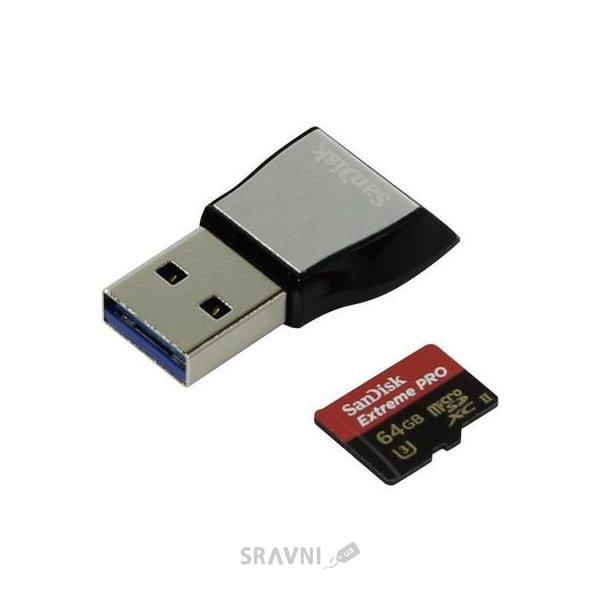 Фото SanDisk 64 GB microSDXC UHS-II U3 Extreme Pro + USB3.0 Reader SDSQXPJ-064G-GN6M3