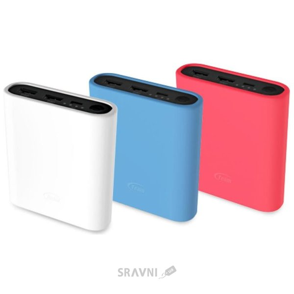 Фото TEAM Power Bank 12800mAh White + 3 color silicone case (TWP0712W01)