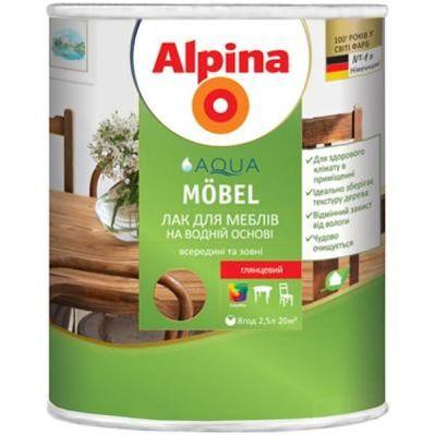 Фото ALPINA Лак Alpina Aqua Mobel глянцевий 2.5 л Предн